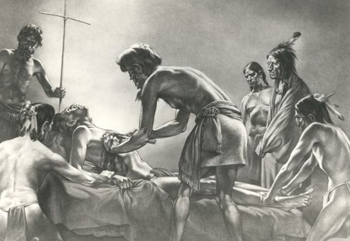 Cabeza de Vaca Performing Surgery on a Native American