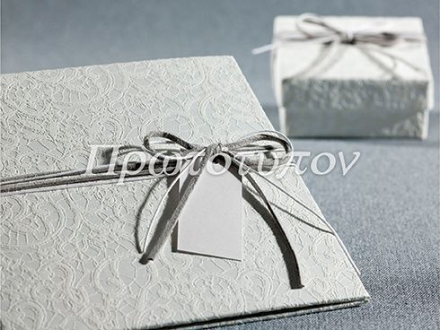 Square Wedding Invitation in silver & white with lace paper from our exclusive collection by Prototypon
