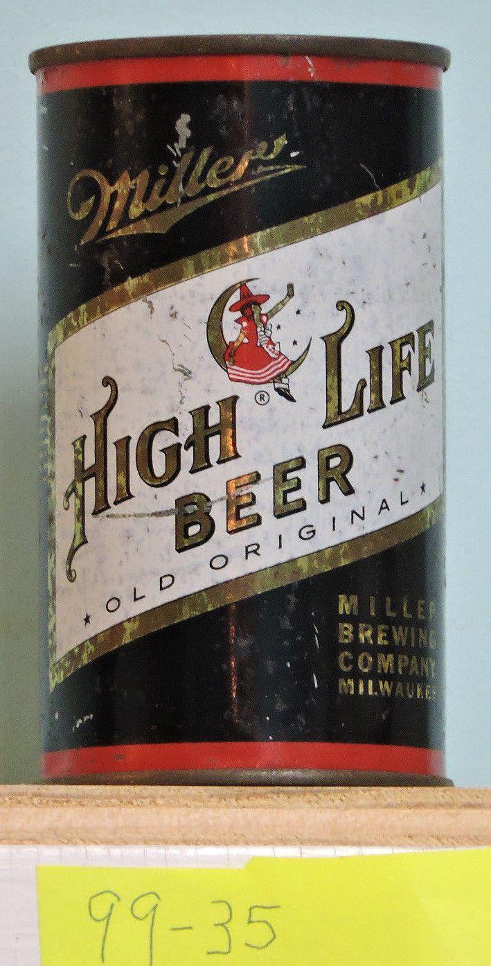 Miller High Life Beer Miller Brewing Co Milwaukee Wis Flat Top Beer Can 99 35 | eBay