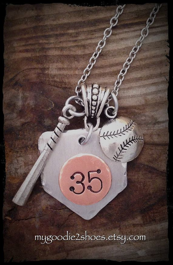 Cheer on your favorite ball player by wearing his/her jersey number! This sweet necklace is made from a heavy gauge aluminum. I love aluminum