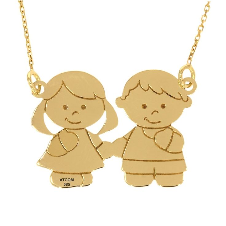 Lantisor din aur galben baietel si fetita gravat