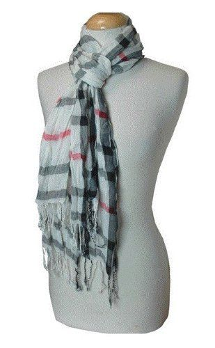 White Plaid Style Scarf/Shawl/Pashmina . $8.00. For that super stylish and popular preppy look, this plaid style scarf is the ultimate fashion staple of the summer, especially with its lightweight feel. Our newest product and at a great sale price!