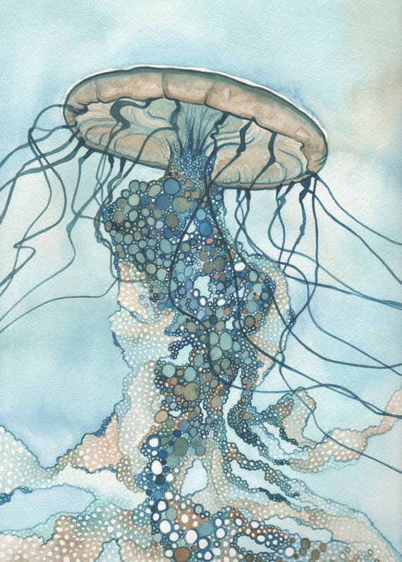 JELLYFISH One 5 x 7 print of detailed watercolour artwork in turquoise blue green earth tones, rising floating tentacles, ocean sea nettle
