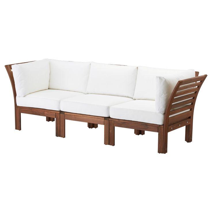 IKEA - ÄPPLARÖ / KUNGSÖ, 3-zitsbank, buiten, Voor extra slijtvastheid, en om de natuurlijke uitstraling van het hout te kunnen zien, is het meubel voorbehandeld met een laag halftransparante houtlazuur.