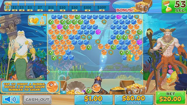 Poseidon's Deep Sea Saga is an easy to play bubble shooter game where players quickly match and pop bubbles to capture treasures.