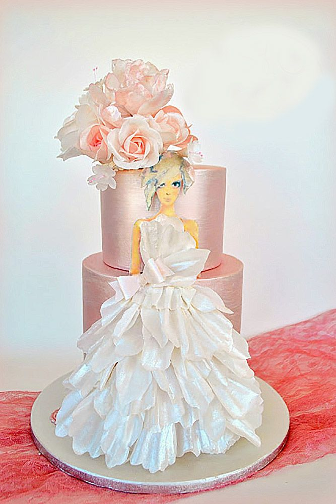 Stunning Wedding Dress Cakes For Your Bridal Shower ❤ See more: http://www.weddingforward.com/wedding-dress-cakes/ #weddings