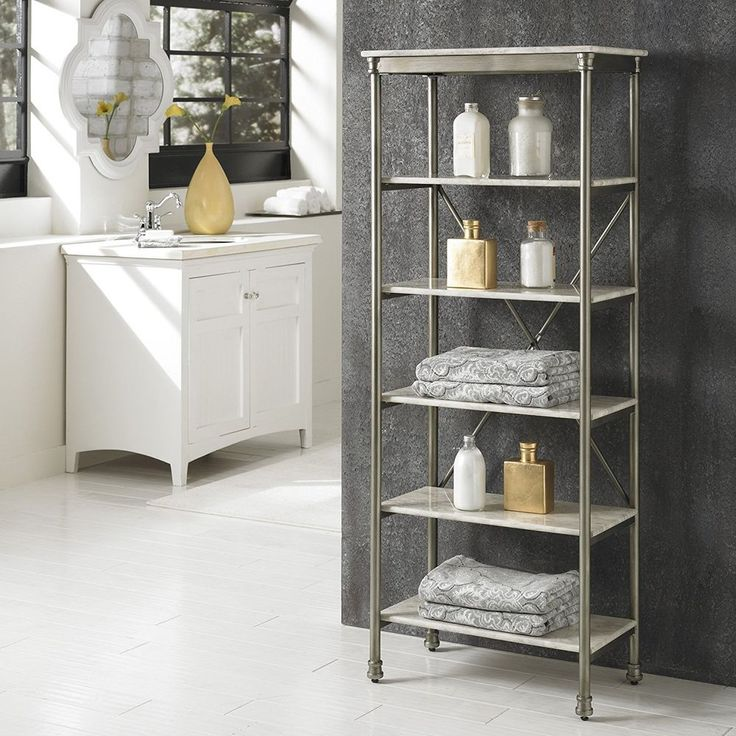 Bathroom Storage Shelf 6 Tier Marble Shelves Display Steel Furniture Home Bath  #HomeStyles