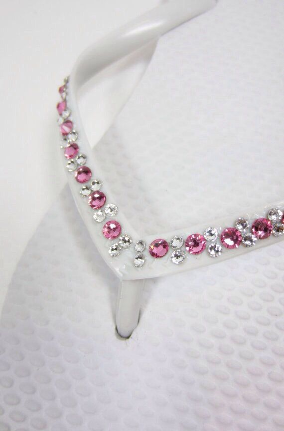 Pink Swarovski Crystal Bridal Cariris/Havaianas Embellished with Authentic Swarovski Elements Rhinestones on Etsy, £48.91