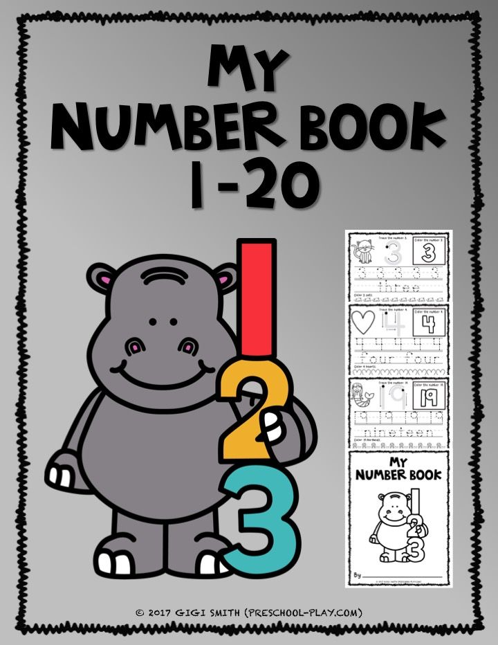 Printable number book worksheets (1-20) for preschool, pre-k, kindergarten, and 1st grade. #preschool #prek #kindergarten #firstgrade #homeschool #prekactivities #preschoolactivities #kidsactivities #math #numbers #numberbook #worksheets #printables #teacherspayteachers