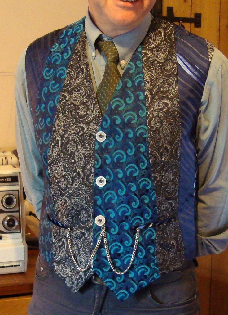 Handmade, upcycled waistcoat made to order from mens ties. £25.00, via Etsy.