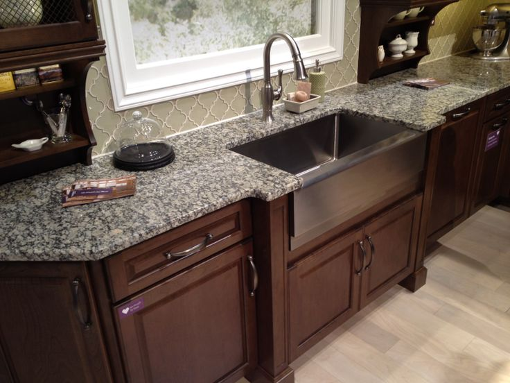 Stainless steel farmhouse / apron-front kitchen sink with ... on Farmhouse Granite Countertops  id=88169