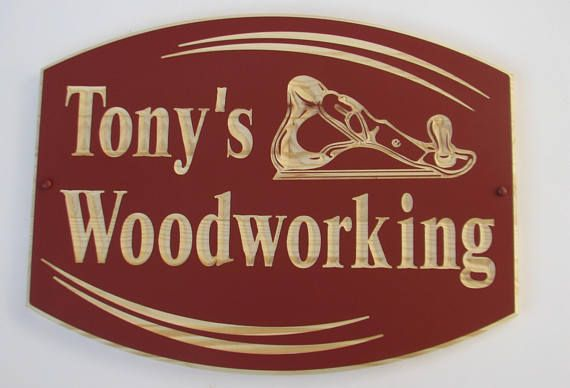 Large Wood Custom Sign with Carved Hand Planer and Custom Text