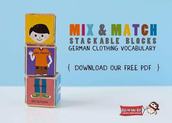 I adore this freebie. German Clothing Vocabulary Printable