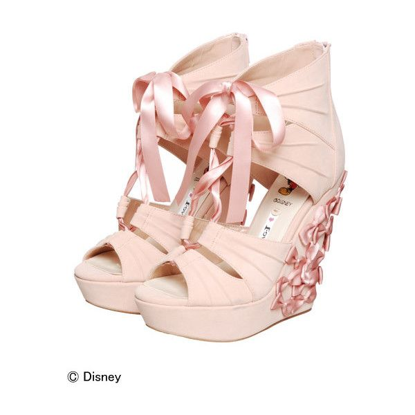 *~Zefora Kawaii Findings~* ❤ liked on Polyvore featuring shoes, sandals, heels, wedges, pink, heeled sandals, pink shoes, pink sandals, pink wedge sandals and wedge heel shoes