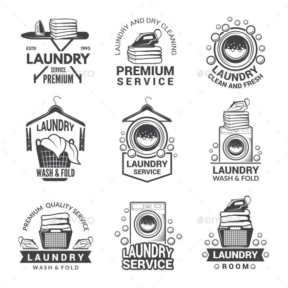 Labels Or Logos For Laundry Service Miscellaneous Vectors