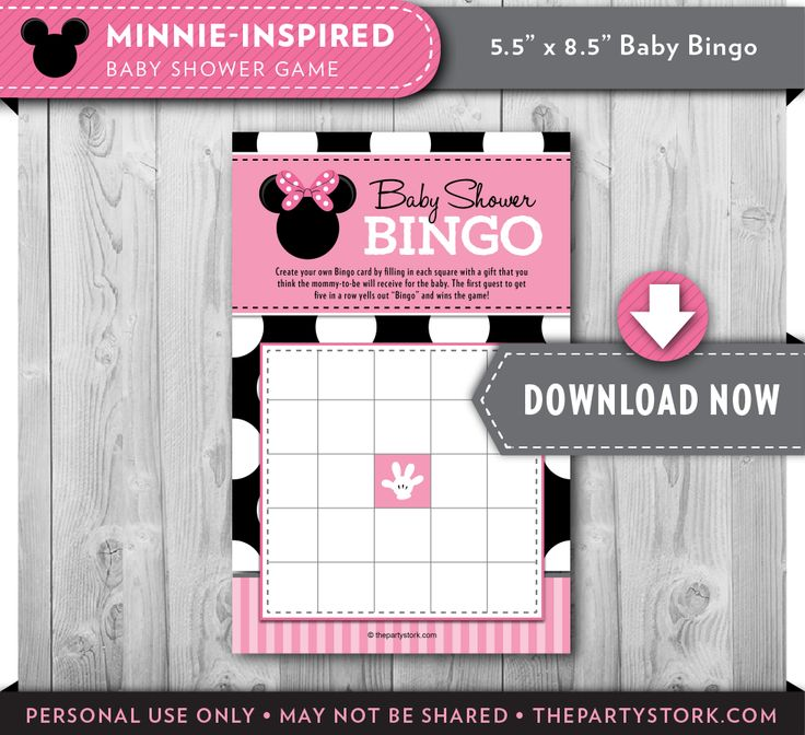 Minnie Mouse Baby Shower Bingo Game