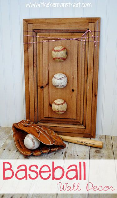 Easy Baseball Wall Decor at www.thebensonstreet.com Love this for a boys room!