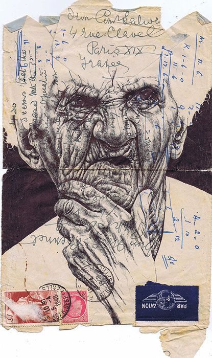 Mark Powell - drawing on an envelope - ballpoint pen art