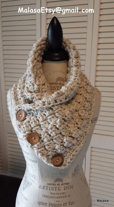 CHUNKY KNITTED Scarf Everyday Cozy Cowl Neckwarmer 3 Buttons Handmade Crochet Knit In WHEAT The Perfect Wrap Scarf Infinity Unisex This beautiful
