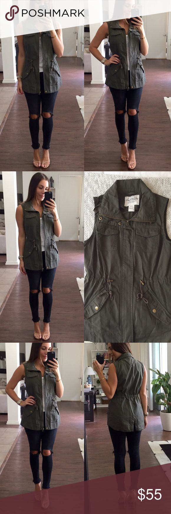 Utility Vest Military green sleeveless vest. This is a great piece to wear over a plain tee, a sweater or even over a basic dress. Brand new with tags Jackets & Coats Utility Jackets