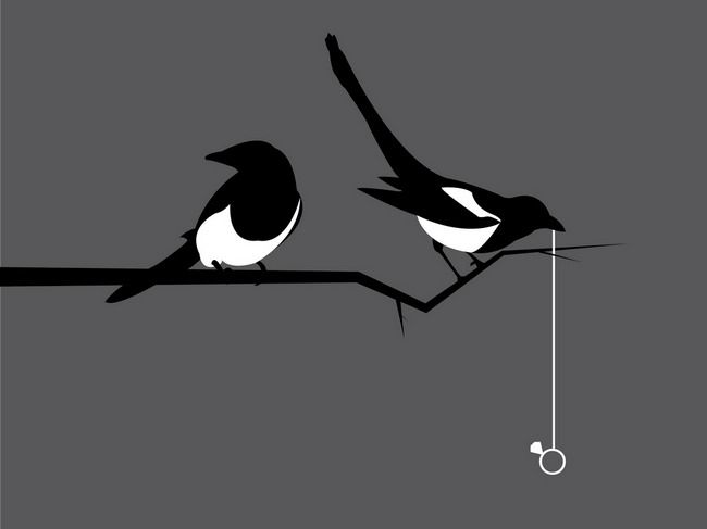 """Art by Steven Squall, inspired by the Radiohead song """"Morning Mr. Magpie"""". Magpies are known to steal especially shiny objects to use in building their nests."""