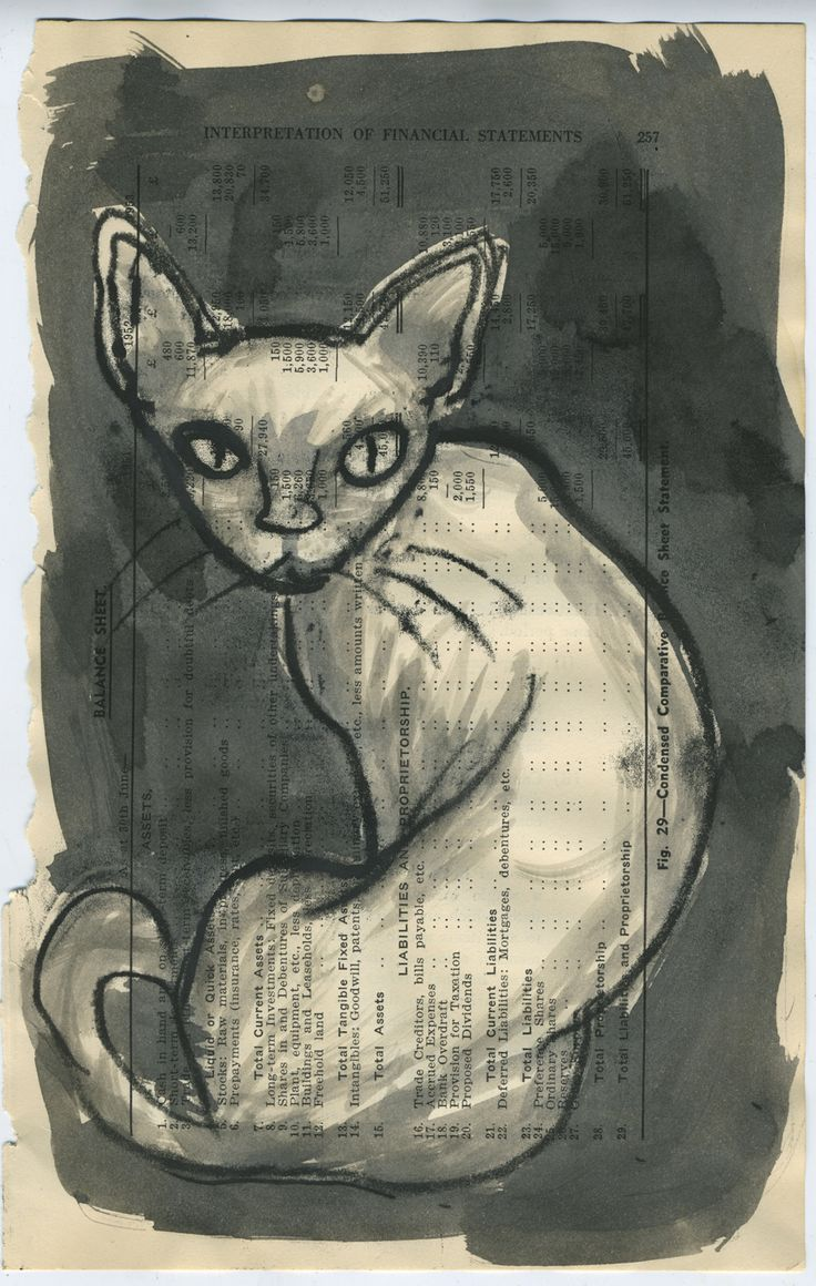 Cornish Rex - monotype and wash on vintage book page