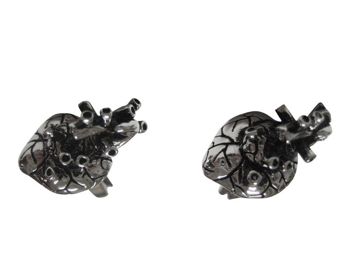 Kiola Designs Silver Toned Anatomical Heart Cufflinks
