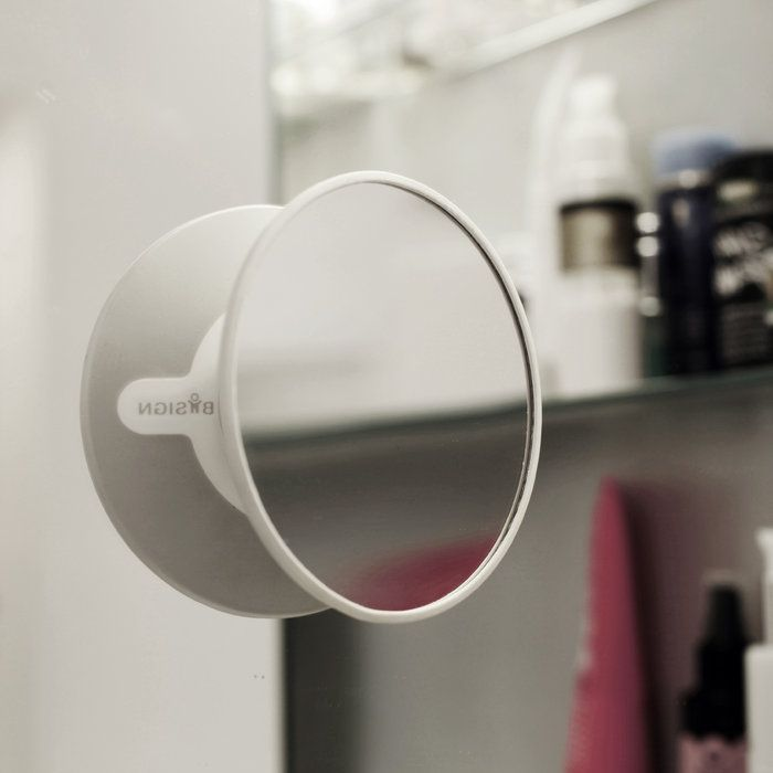 Detachable Make-up mirror  - 5x Magnifying - Gray. Suction cup & Magnetic fastener - Bosign