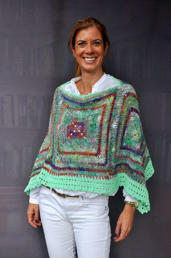 Made with love with a luxury yarn from Japan (Noro Kibou : 54% Cotton - 34% Wool - 12% Silk). The border is a cotton yarn.  Hand wash in cold water and