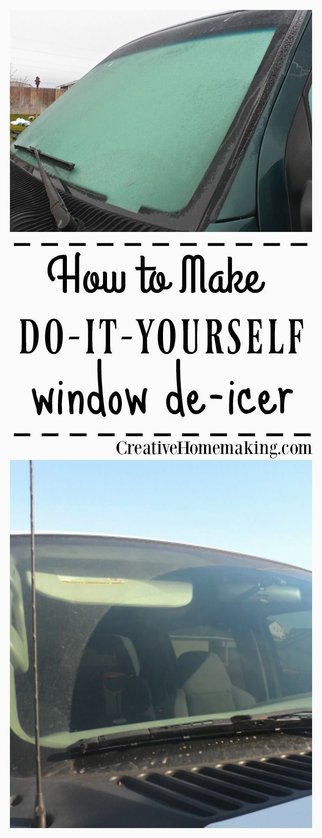 Homemade windshield de-icer = 2 parts rubbing alcohol and 1 part water. Ice melts instantly. Works on locks too! #diy #cleaningtips