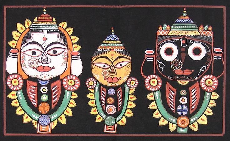 Jagannath, Balaram, Subhadra (Jamini Roy Painting Reproduction on Cloth - Unframed)) Jamini Roy was born in 1887 in the Bankura distict of Bengal. Brought up as an artist under the tutelage of Abanindranath Tagore (elder brother of nobel laureate in literature, Rabindranath Tagore, and himself, a famous artist), he grew up with the same ideas and styles that so many of his contemporary artists had, resulting in a non-uniqueness in his artwork, which was limited to impressionist landscapes…