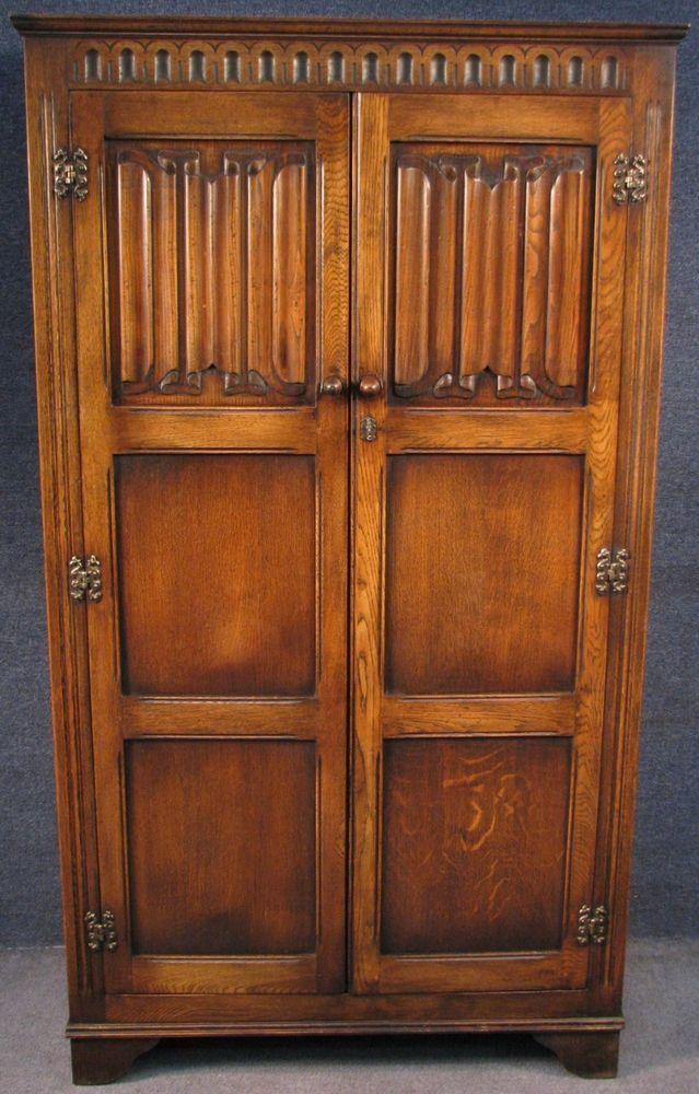 Jaycee Jacobean Style Oak Linen Fold 2 Door Wardrobe Armoire Gents Robe Jaycee Jacobean Wardrobe Armoire Armoire 2 Door Wardrobe
