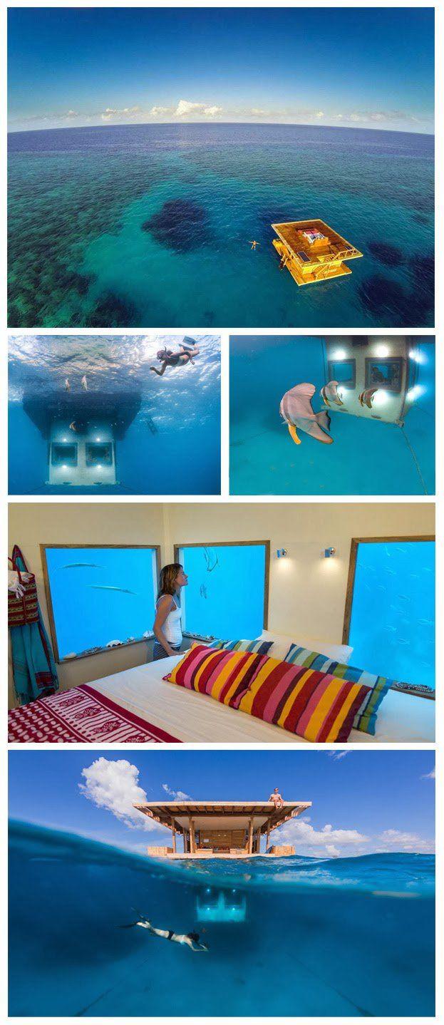 El Manta Resort (Isla de Pemba, Tanzania)  Este curioso hotel nos ofrece habitaciones a 250 metros de la costa, sumergidas 4 metros en el mar.