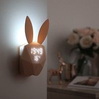 Wish | Rabbit Shaped LED Music Sound Control Night Light Alarm Clock