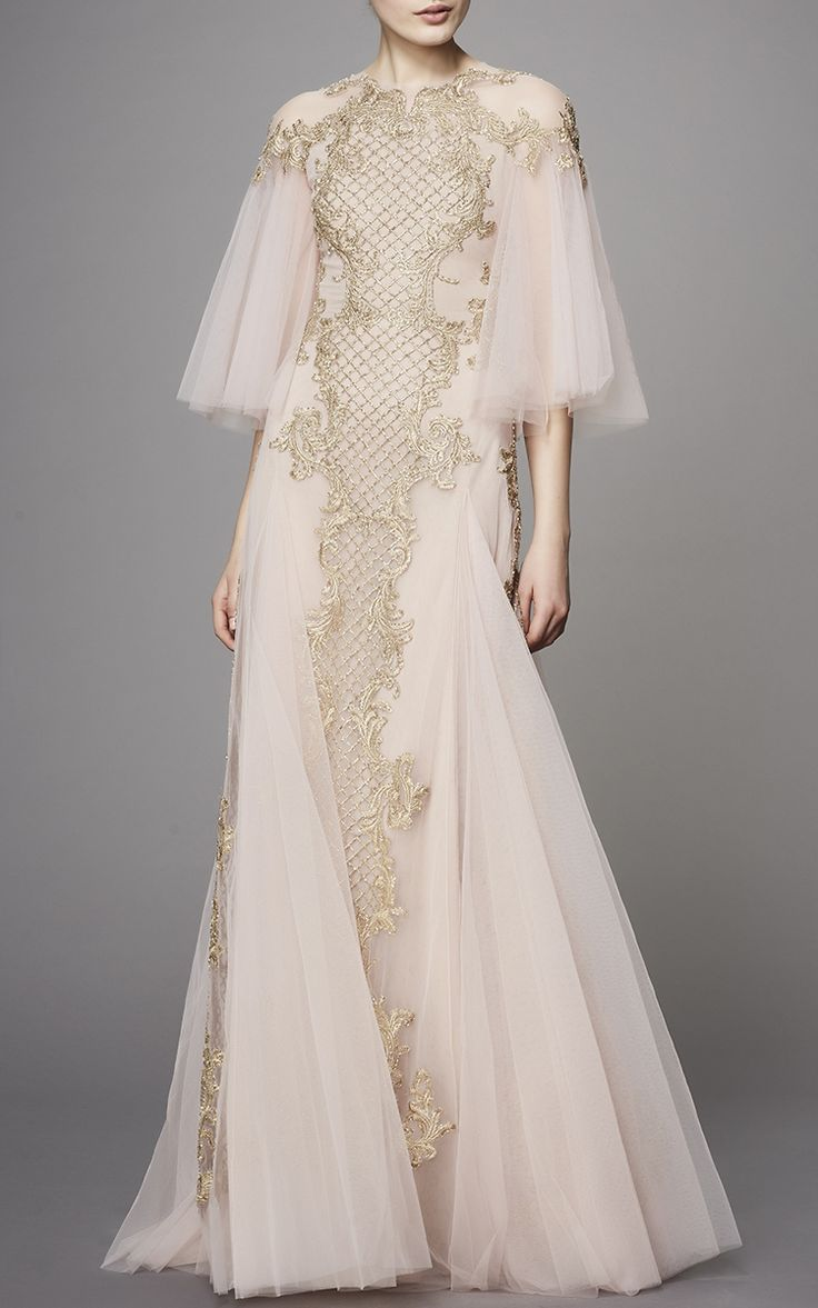 Flutter Sleeve Embroidered Gown by Marchesa | Moda Operandi