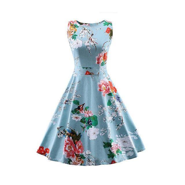 Zaful S-4XL Women Plus Size Vintage Dress Floral Print Round Collar Sleeveless Elegant Slim Tunic Dress Female