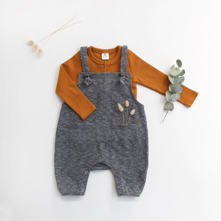Baby little outfit with our grey jersey jumpsuit and caramel baby top