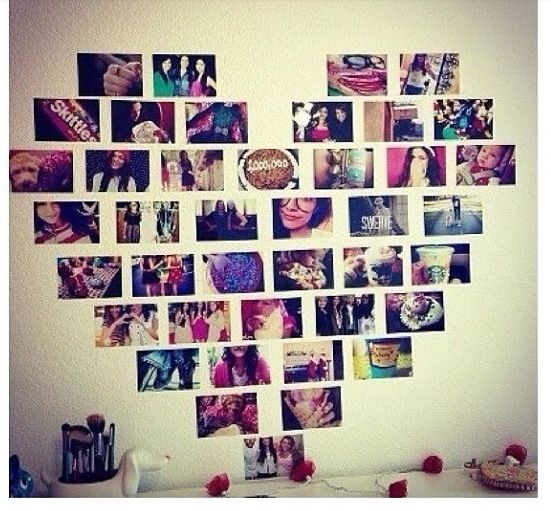 Cute and Cool Teen Girl Bedroom Ideas! • A great roundup of teenage girl bedroom decorating ideas & projects! Including this photo heart shaped wall design idea.