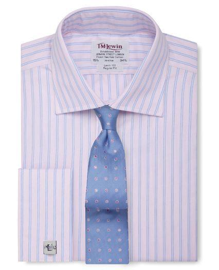 Regular Fit Pink Blue Stripe Poplin Shirt,