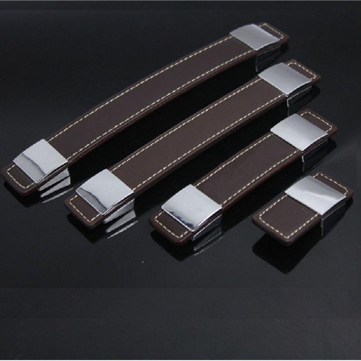 Online Shop 30mm~192mm Brown Leather Alloy Drawer Dresser Furniture Cabinet Pull…