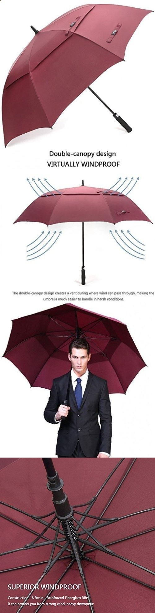 Golf Umbrellas 18933: G4free Ultimate Golf Umbrella Double Canopy Large Oversize Wine Red Windproof -> BUY IT NOW ONLY: $30.47 on eBay!