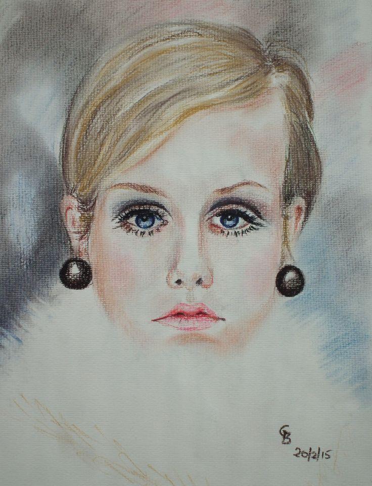 Demo portrait of Twiggy - pastel pencil; by Gorica Bulcock