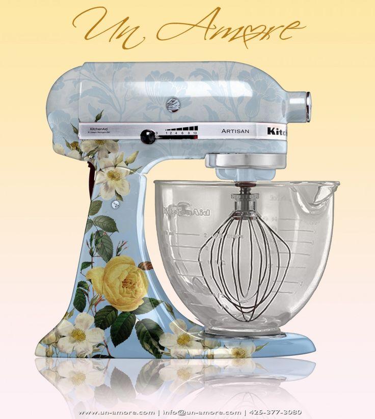 Floral theme custom painted kitchenaid mixer kitchen