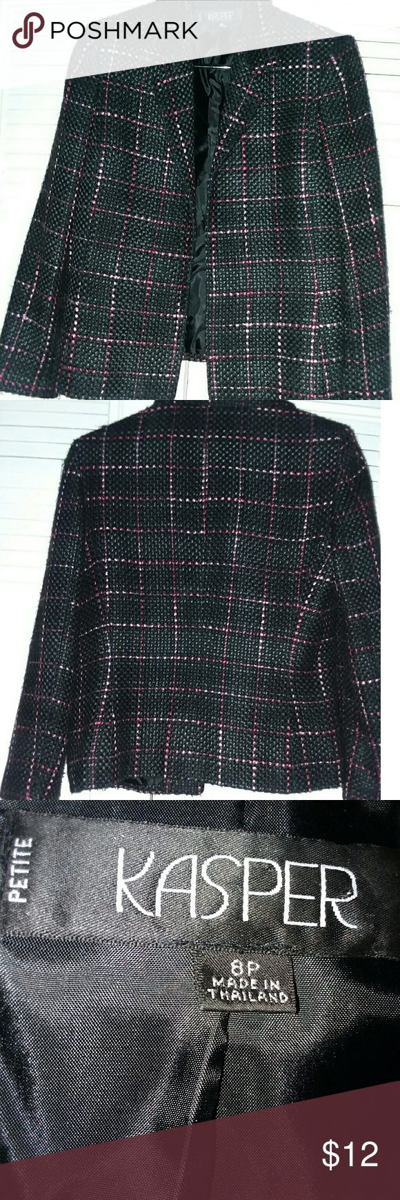 Women's Tweed Jacket by KASPER Women's tweed jacket by KASPER. Open front with padded shoulders. Charcoal with purple and pink plaid striping. Fully lined. Silky texture - Sz 8 Petite Kasper Jackets & Coats Utility Jackets