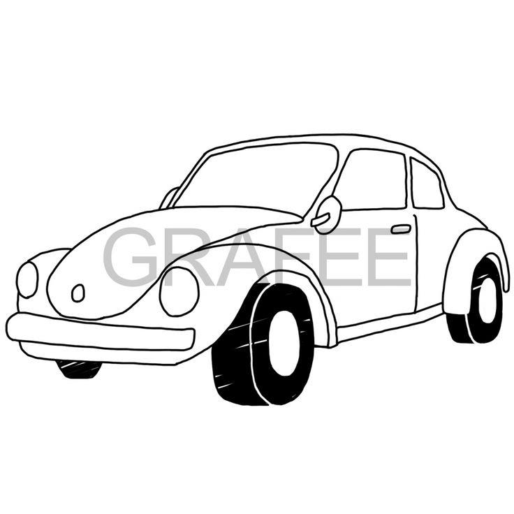 オールドカー(ビートル)のイラスト_サムネイル