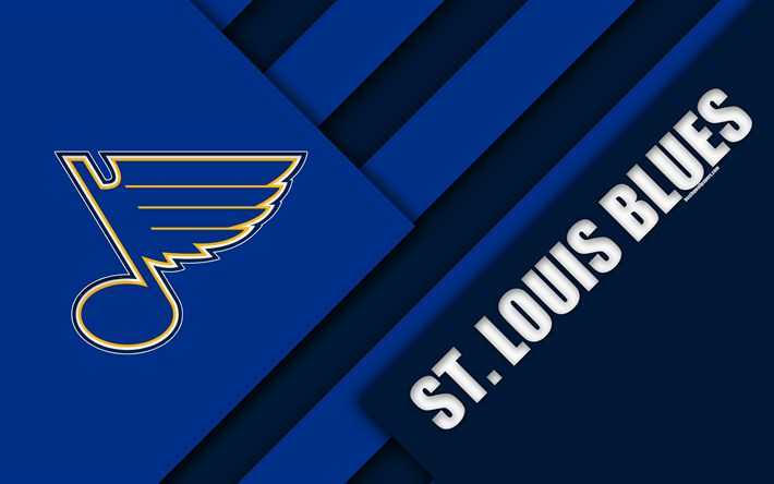 Download wallpapers St Louis Blues, NHL, 4k, material design, logo, blue abstraction, lines, American hockey club, St Louis, Missouri, USA, National Hockey League