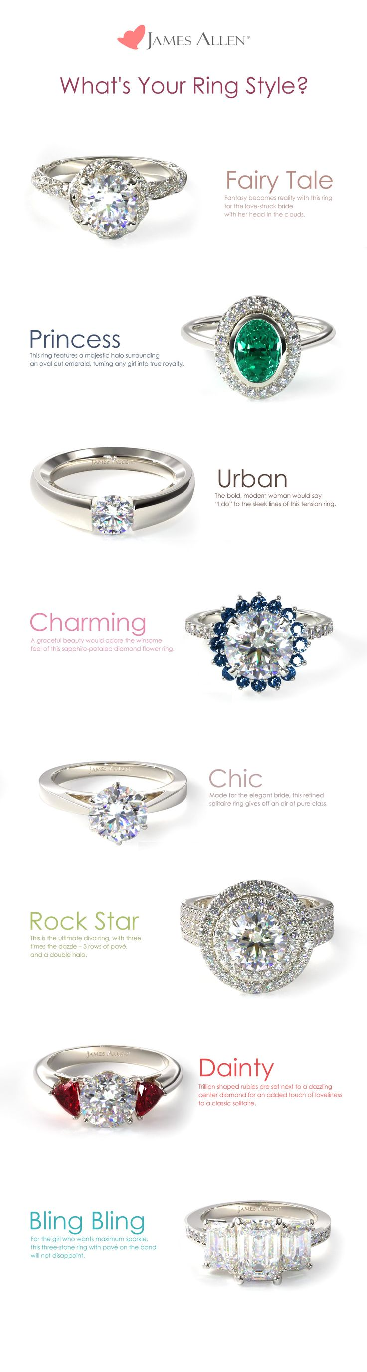 What's Your Ring Style? Is your dream engagement ring Fairy Tale, Princess, Urban, Charming, Chic, Rock Star, Dainty or Bling Bling? Whatever it may be, you can find it at www.jamesallen.com!   Which style would you pick?? #jamesallenrings
