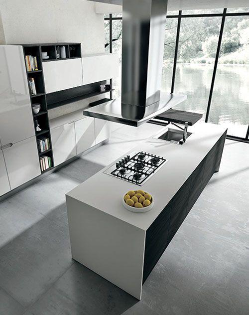Cocina italiana abierta al living