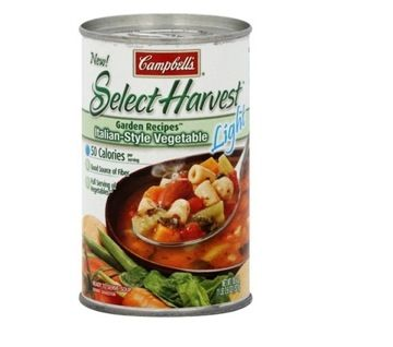 Best Soup: Campbell's Select Harvest Light Italian-Style Vegetable Soup. Per cup:  50 calories,  0 g fat,  650 mg sodium,  2 g protein,  4 g fiber. This is as light as soup gets. You can slurp the whole veggie-loaded can for 100 calories and not worry about serving-size overload.