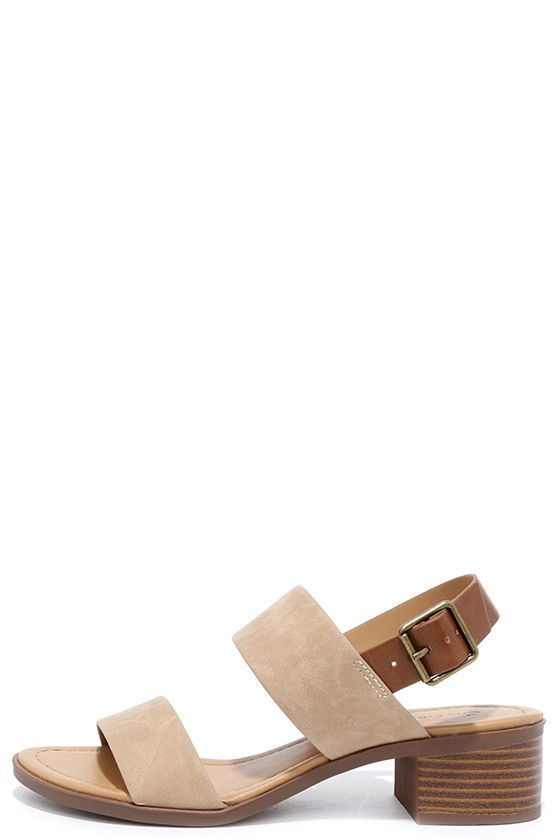 A seaside adventure awaits you and the Tulum Trek Camel Heeled Sandals! Matte camel brown vegan leather toe strap is accompanied by a second camel and tan quarter strap with adjustable antiqued gold buckle.